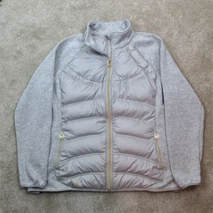 MICHAEL KORS Silver PUFFER & KNIT Zip Up JACKET 1X